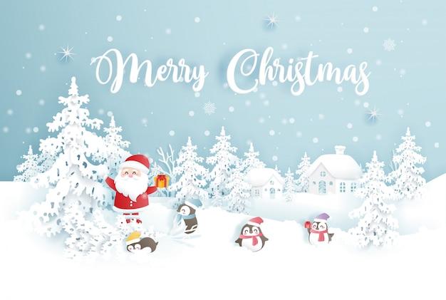 Feliz navidad con papá noel y pingüinos en un bosque nevado