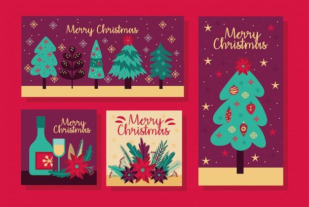 Feliz navidad paquete de tarjetas de diseño de ilustración vectorial