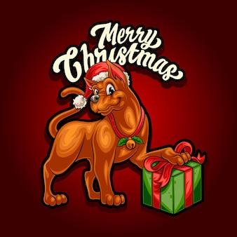 Feliz navidad con perro y regalo