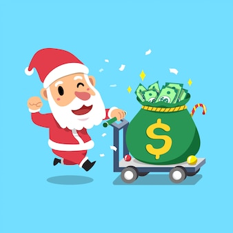 Feliz navidad personaje de dibujos animados santa claus empujando una bolsa de dinero grande