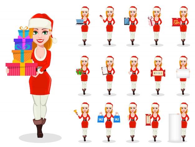 Feliz navidad personaje de mujer en traje de santa claus