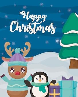 Feliz navidad con pingüinos y renos en paisaje invernal