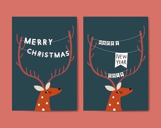 Feliz navidad postal diseño vectorial