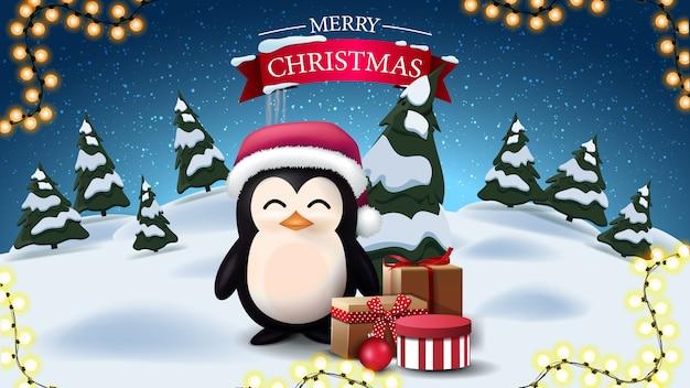 Feliz navidad, postal con pingüino en gorro de papá noel con regalos