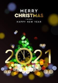 Feliz navidad y próspero año nuevo 2021 - fondo brillante con reloj de oro y efecto bokeh de desenfoque de brillo de árbol de navidad