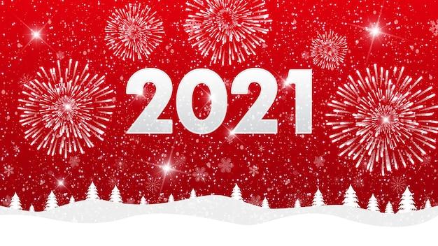 Feliz navidad y próspero año nuevo 2021 fondo con fuegos artificiales y paisaje.