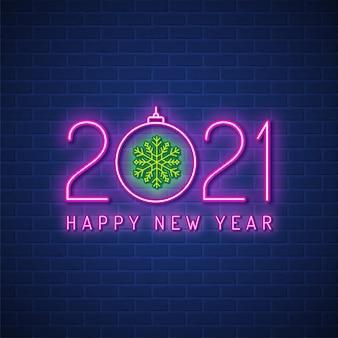 Feliz navidad y próspero año nuevo 2021 fondo de letrero de neón