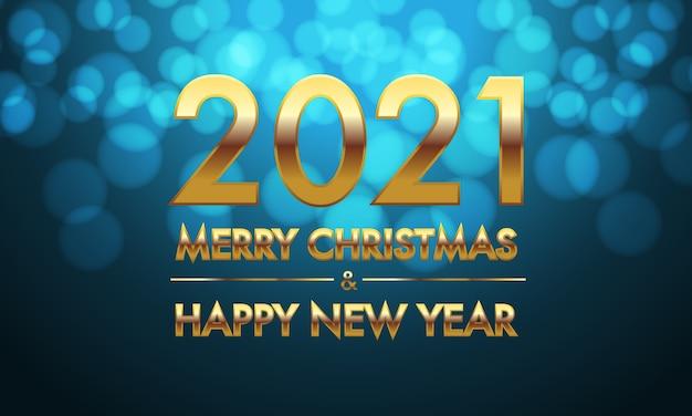 Feliz navidad y próspero año nuevo 2021 número de oro y texto sobre fondo azul bokeh.