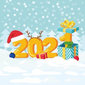 Feliz navidad y próspero año nuevo 2021. números con gorro de santa claus, cajas de regalo, bolas decorativas