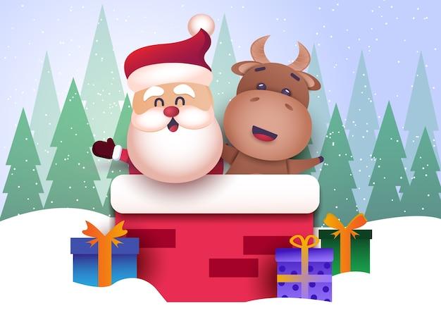 Feliz navidad y próspero año nuevo 2021 tarjeta de felicitación con toro