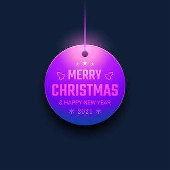 Feliz navidad y próspero año nuevo con adornos colgantes y luz de neón