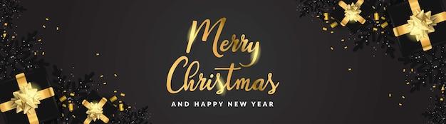 Feliz navidad y próspero año nuevo banner 3d copo de nieve negro texto dorado