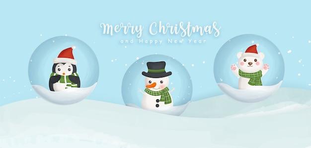 Feliz navidad y próspero año nuevo banner con muñeco de nieve, pingüino y oso.