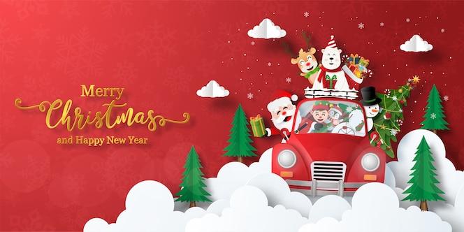 Feliz navidad y próspero año nuevo, banner de navidad de santa claus y amigos en un coche de navidad