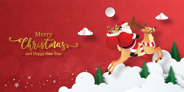 Feliz navidad y próspero año nuevo, banner de navidad de santa claus y renos en el cielo
