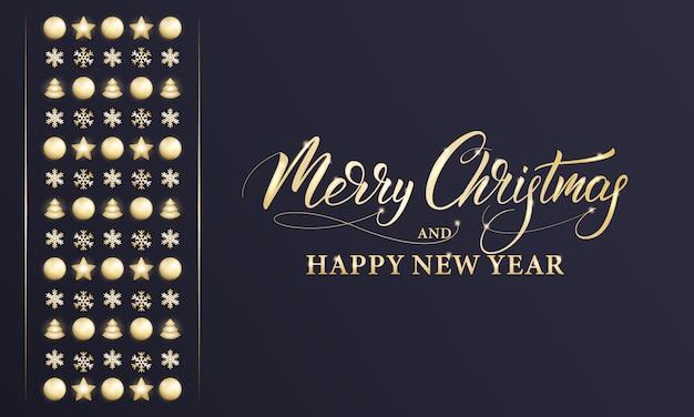 Feliz navidad y próspero año nuevo. banner de vacaciones de invierno con decoraciones doradas brillantes, caligrafía de navidad y año nuevo