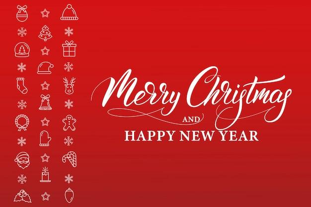 Feliz navidad y próspero año nuevo. banner de vacaciones de invierno con decoraciones de iconos lineales y caligrafía de navidad