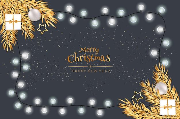 Feliz navidad y próspero año nuevo con bolas de navidad y regalos