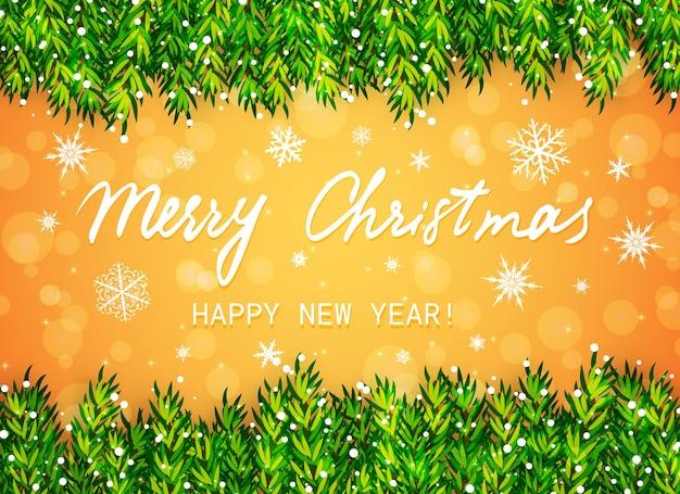 Feliz navidad y próspero año nuevo. borde de ramas de árbol de navidad con nieve y texto