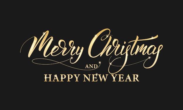 Feliz navidad y próspero año nuevo. caligrafía de letras doradas brillantes