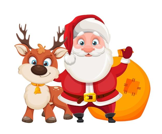 Feliz navidad y próspero año nuevo. ciervo y santa claus alegre