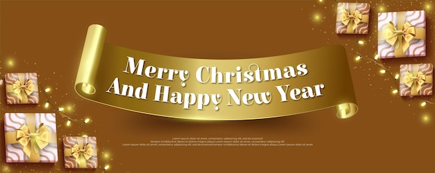 Feliz navidad y próspero año nuevo con cinta dorada y elementos de decoración navideña
