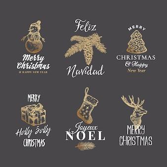 Feliz navidad y próspero año nuevo conjunto de plantillas de logotipos, etiquetas o signos abstractos