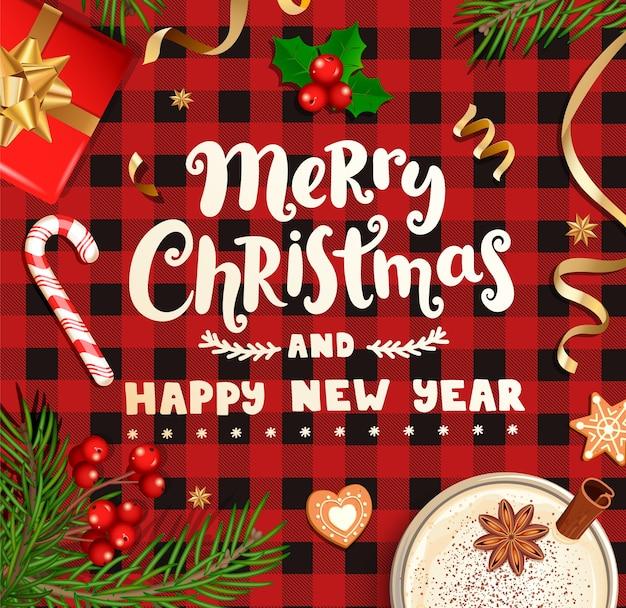 Feliz navidad y próspero año nuevo deseando tarjeta