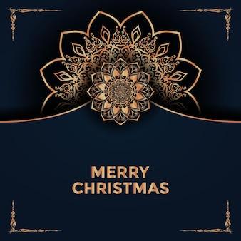 Feliz navidad y próspero año nuevo diseño de fondo mandala vector premium