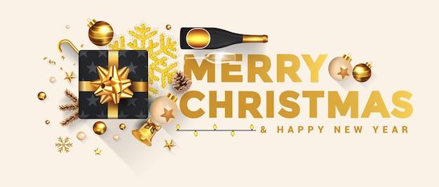 Feliz navidad y próspero año nuevo. el diseño de vacaciones decora con caja de regalo, bolas de oro, botella de vino y estrella sobre fondo brillante.