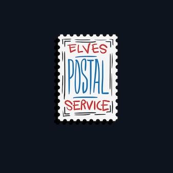 Feliz navidad y próspero año nuevo elfos postal service stamp.