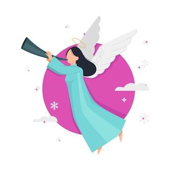 Feliz navidad y próspero año nuevo flying angel personaje de dibujos animados