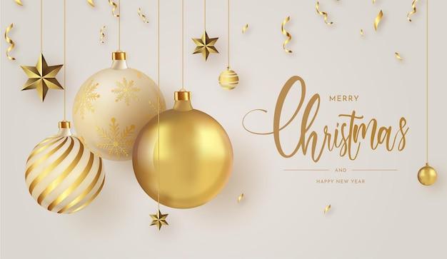 Feliz navidad y próspero año nuevo fondo de banner
