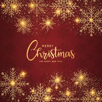 Feliz navidad y próspero año nuevo fondo con copos de nieve dorados realistas
