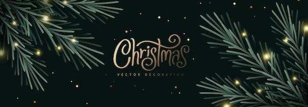 Feliz navidad y próspero año nuevo fondo decoración de ramas de árbol de navidad
