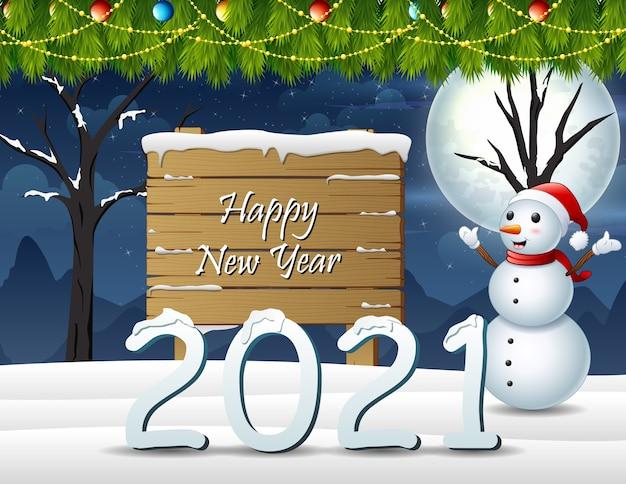Feliz navidad y próspero año nuevo en el fondo de invierno