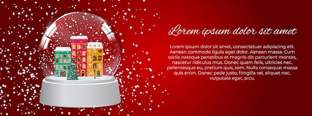 Feliz navidad y próspero año nuevo fondo con little town en estilo retro.
