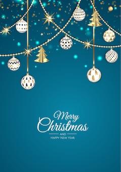 Feliz navidad y próspero año nuevo. fondo de navidad con árbol de navidad, copos de nieve, estrellas y bolas. tarjeta de felicitación, banner de vacaciones, cartel web