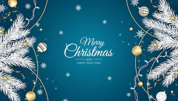 Feliz navidad y próspero año nuevo. fondo de navidad con poinsettia, copos de nieve, estrellas y bolas. tarjeta de felicitación, banner de vacaciones, cartel web