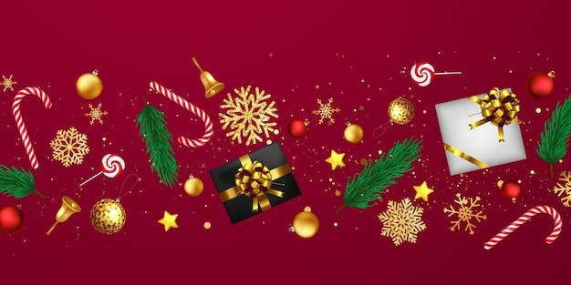 Feliz navidad y próspero año nuevo fondo. plantilla de fondo de celebración con cintas. tarjeta rica de saludo de lujo.
