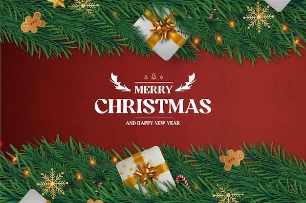 Feliz navidad y próspero año nuevo fondo realista