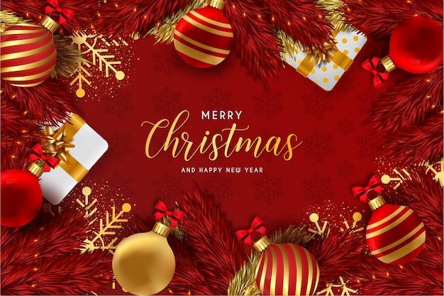 Feliz navidad y próspero año nuevo fondo rojo con elementos navideños realistas