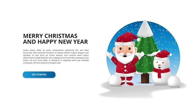 Feliz navidad y próspero año nuevo con un lindo personaje 3d de santa claus y abeto y muñeco de nieve