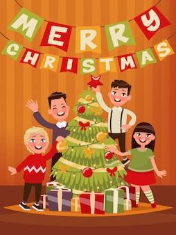 Feliz navidad y próspero año nuevo. los niños decoran el árbol de navidad. ilustración