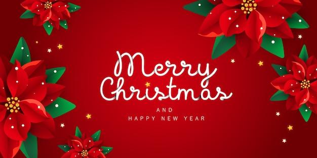 Feliz navidad y próspero año nuevo noel banner con decoración poinsettia flores sobre fondo rojo.