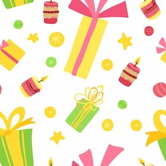 Feliz navidad y próspero año nuevo. patrón sin fisuras de vacaciones con cajas de regalo, estrellas, velas