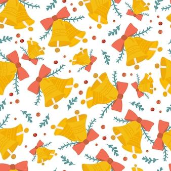Feliz navidad y próspero año nuevo de patrones sin fisuras con elementos lindos