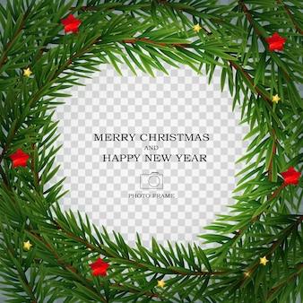 Feliz navidad y próspero año nuevo plantilla de marco de fotos.