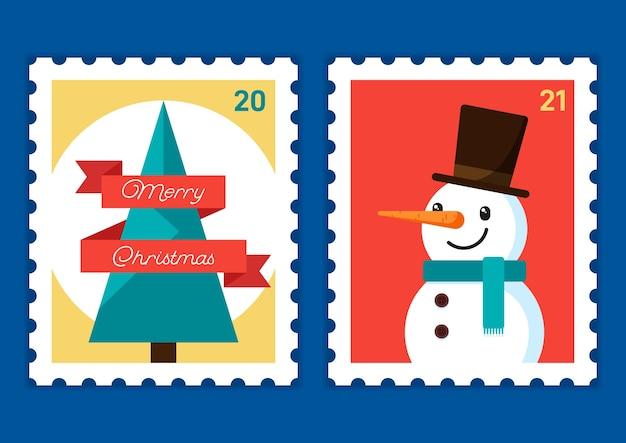 Feliz navidad y próspero año nuevo plantilla de sello postal decorativa con árbol de cinta y muñeco de nieve
