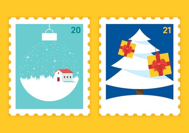 Feliz navidad y próspero año nuevo plantilla de sello postal decorativa con paisaje de invierno y caja de regalo
